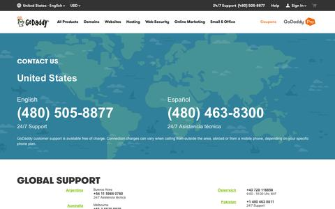 Screenshot of Contact Page godaddy.com - GoDaddy Global Support | Contact Us – GoDaddy - captured Dec. 3, 2015
