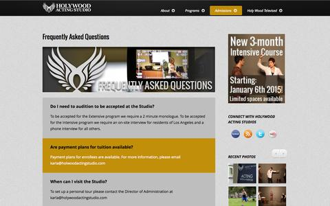 Screenshot of FAQ Page holywoodactingstudio.com - HolyWood Acting Studios |Acting career| Best Catholic & Christian Acting School | Acting in Christian movies | Acting classes for high school kids | Movie casting calls - captured Sept. 30, 2014