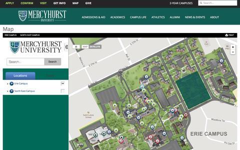 Screenshot of Maps & Directions Page mercyhurst.edu - Map | Mercyhurst University - captured May 14, 2018