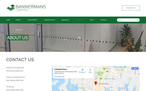 Screenshot of Contact Page bannermans.com.au - Bannermans Lawyers  - Contact Us - captured Oct. 5, 2018