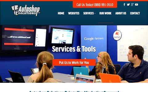Screenshot of Services Page autoshopsolutions.com - Auto Repair Digital Marketing Services | Autoshop Solutions - captured Oct. 20, 2015