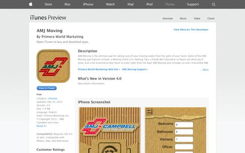 Screenshot of iOS App Page apple.com - AMJ Moving on the App Store on iTunes - captured Oct. 25, 2014