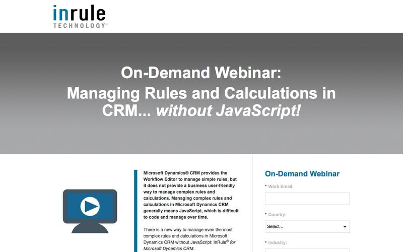 On-Demand Webinar - Managing Rules and Calculations in CRM without JavaScript