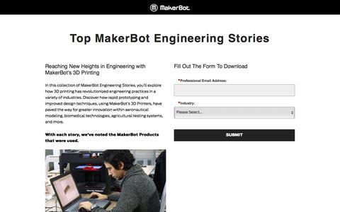 Screenshot of Landing Page makerbot.com - Top MakerBot Engineering Stories - captured Oct. 21, 2016