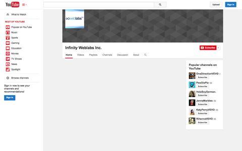 Screenshot of YouTube Page youtube.com - Infinity Weblabs Inc.  - YouTube - captured Nov. 3, 2014