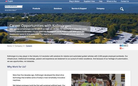 Screenshot of Jobs Page kollmorgen.com - Career Opportunities | Kollmorgen - captured Oct. 16, 2018