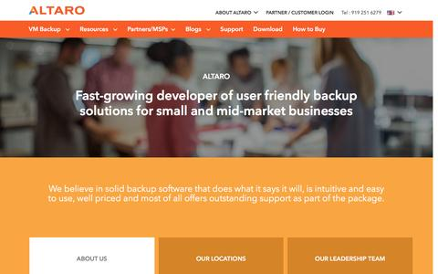 Screenshot of About Page altaro.com - About Altaro Software - Solid Backup Software for SMBs - captured March 26, 2017