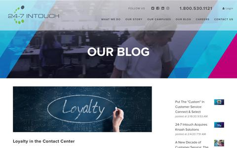 Screenshot of Blog 24-7intouch.com - Loyalty in the Contact Center - captured Feb. 20, 2020