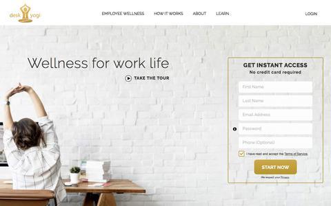 Screenshot of Home Page desk-yogi.com - Home - Desk Yogi - captured July 8, 2018