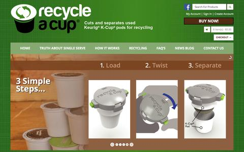 Screenshot of Home Page recycleacup.com - Recycle K-Cups | Recycle Keurig Cups | K Cup Recycling - Recycle A Cup - captured Jan. 15, 2016