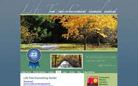 Screenshot of FAQ Page lifetreecounseling.com - FAQ LifeTree Counseling - captured Oct. 2, 2014