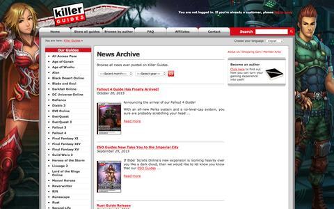 Screenshot of Press Page killerguides.net - Killer Guides - News - captured April 9, 2017