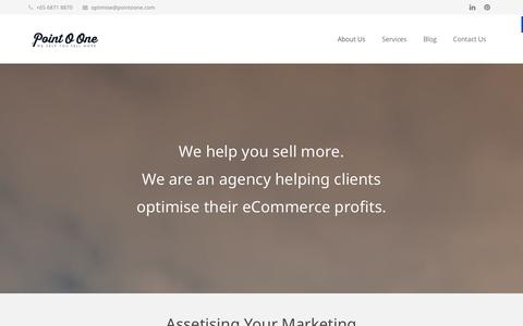 Screenshot of Home Page About Page pointoone.com - Point O One | Ecommerce optimisation & CRM agency - captured Sept. 30, 2014