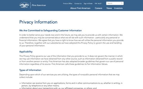 Screenshot of Privacy Page firstam.com - Privacy Information | First American - captured Oct. 15, 2018