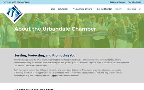 Screenshot of About Page uniquelyurbandale.com - About Your Local Chamber of Commerce | The Urbandale Chamber - captured May 29, 2019