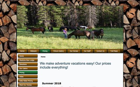 Screenshot of Pricing Page medicinebowlodge.net - We make adventure vacations easy!  Our prices include everything! | horsebackridingwy - captured July 12, 2018