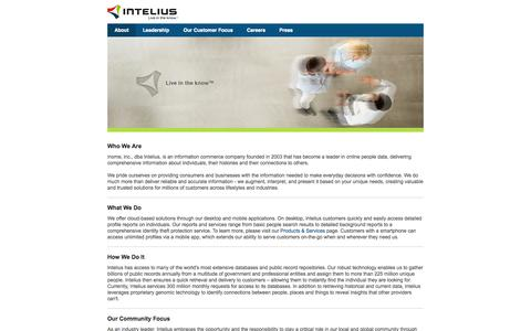 Screenshot of About Page intelius.com - Intelius - Corporate Home - captured Sept. 19, 2014