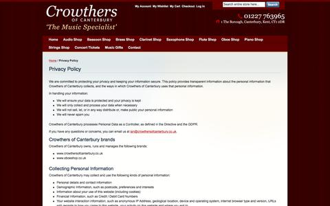 Screenshot of Privacy Page crowthersofcanterbury.co.uk - Privacy Policy - captured July 23, 2018