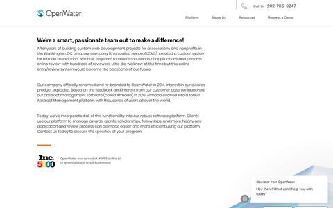 Screenshot of Team Page getopenwater.com - Operator says… - captured Sept. 19, 2018