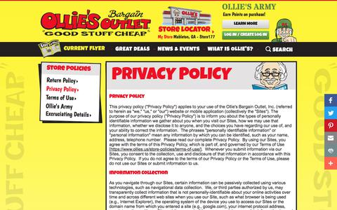 Screenshot of Privacy Page ollies.us - Privacy Policy - Store Policies | Ollie's Bargain Outlet - captured Sept. 14, 2018