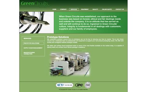 Screenshot of Services Page greencircuits.net - Green Circuits - captured Sept. 30, 2014