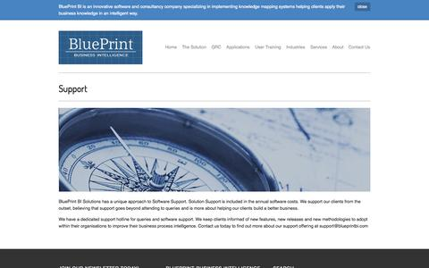 Screenshot of Support Page blueprintbi.com - BluePrint BI - Support - captured Oct. 5, 2014