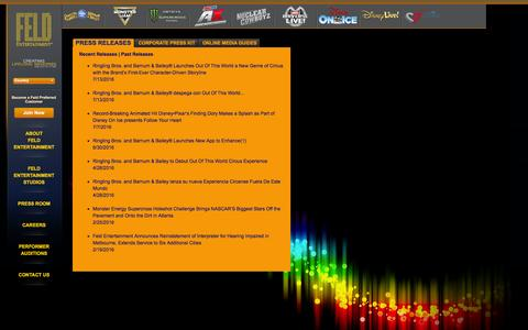 Screenshot of Press Page feldentertainment.com - Press Releases - captured Aug. 3, 2016