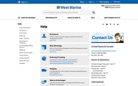 Screenshot of Support Page westmarine.com - Help Contact Us | West Marine - captured June 12, 2017