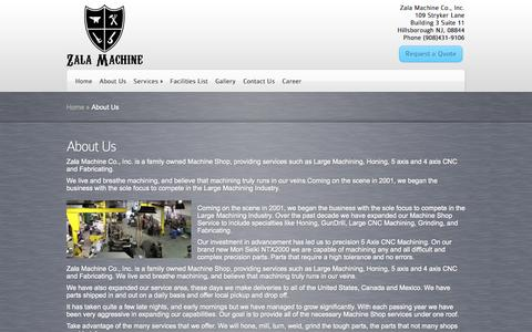 Screenshot of About Page zala-machineshop.com - About Us | Zala Machine - captured Nov. 5, 2014