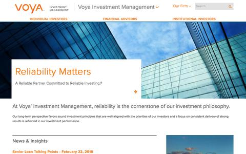 A Reliable Partner Committed to Reliable Investing | Voya Investment Management