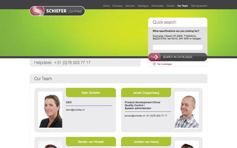 Screenshot of Team Page schiefer.nl - Our Team | Schiefer lighting - captured Oct. 4, 2014