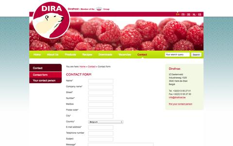 Screenshot of Contact Page dirafrost.com - Contact form - Dirafrost - captured Oct. 5, 2014