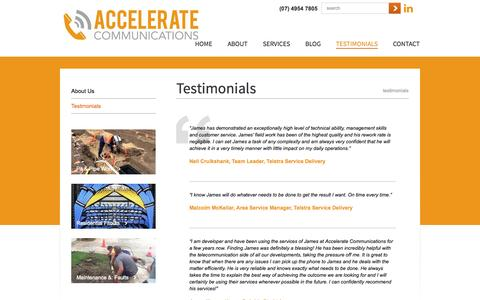 Screenshot of Testimonials Page acoms.com.au - Testimonials | Accelerate Communications - captured Oct. 4, 2014