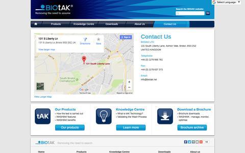 Screenshot of Contact Page biotak.net - Contact Us - BIOtAK - captured Oct. 9, 2017