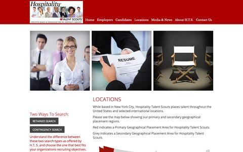 Screenshot of Locations Page hospitalitytalentscouts.com - Hospitality Talent Scouts Executive Search - Locations - captured Sept. 29, 2018