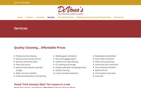 Screenshot of Services Page devonosdrycleaners.com - Services | Devono's Dry Cleaners - captured Sept. 25, 2016