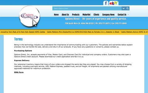 Screenshot of Terms Page optionsdirect.com - Terms   Options Direct, Inc - captured Nov. 30, 2016