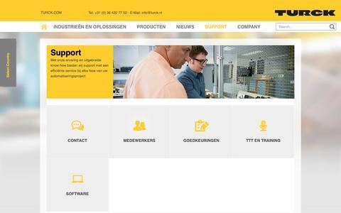 Screenshot of Support Page turck.nl - Support - TURCK B.V. - Your Global Automation Partner! - captured Oct. 26, 2018