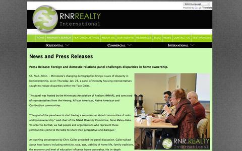 Screenshot of Press Page rnrrealty.com - RNR Realty International-News and Press Releases - captured Nov. 1, 2014