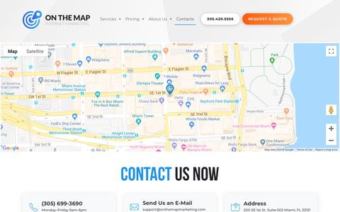 Screenshot of Locations Page onthemapmarketing.com - Locations | On The Map, Inc. - captured Sept. 23, 2018