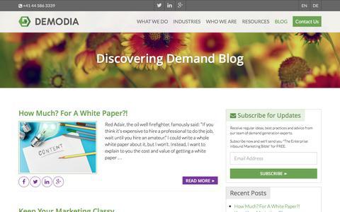Screenshot of Blog demodia.com - Discovering Demand - Demodia - captured Feb. 9, 2016
