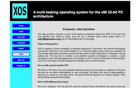 Screenshot of FAQ Page openxos.org - XOS - Frequently Asked Questions - captured Jan. 29, 2017