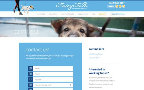 Screenshot of Contact Page fairytails.com - Contact | FairyTails Pet Sitting & Dog Walking | San Antonio - captured Oct. 10, 2018