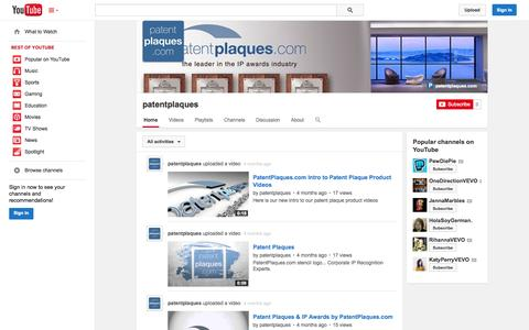 Screenshot of YouTube Page youtube.com - patentplaques  - YouTube - captured Nov. 1, 2014
