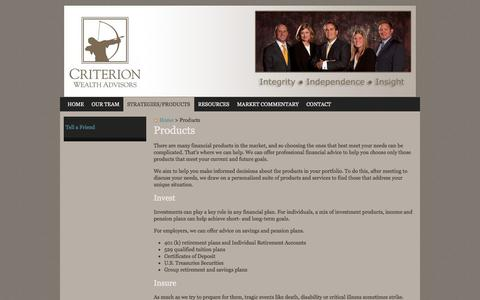 Screenshot of Products Page criterionwa.com - Products | Criterion Wealth Advisors, LLC - captured Oct. 3, 2014