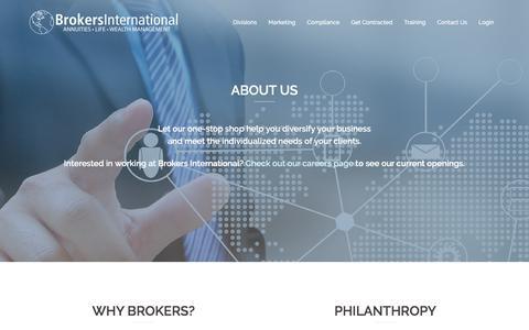 Screenshot of About Page biltd.com - About Us – Brokers International - captured Oct. 11, 2017