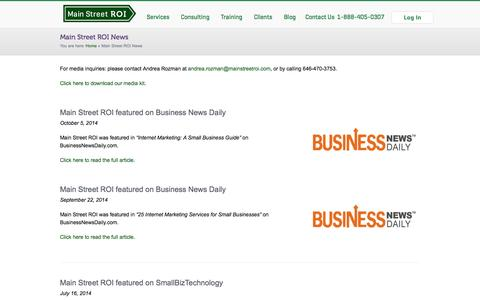 Screenshot of Press Page mainstreetroi.com - Main Street ROI News | Main Street ROI - captured Oct. 29, 2014