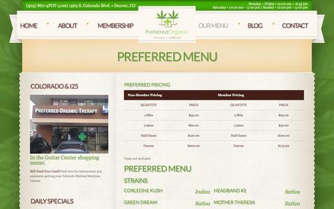 Screenshot of Menu Page preferredorganictherapy.com - Preferred Menu  |  			Preferred Organic Therapy | Denver's Best Dispensary - captured Oct. 8, 2014