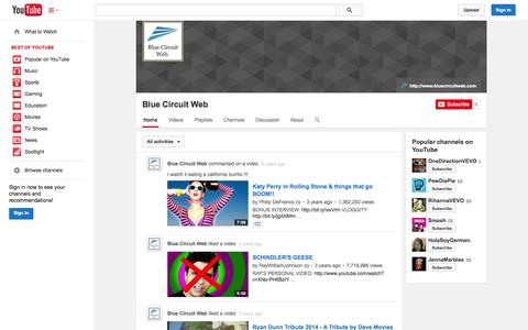 Screenshot of YouTube Page youtube.com - Blue Circuit Web  - YouTube - captured Oct. 23, 2014
