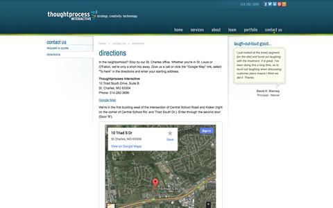 Screenshot of Maps & Directions Page thoughtprocessinteractive.com - TPI: Directions To Our Office in St Charles, MO - captured Oct. 10, 2014